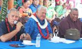 [l-r] Gov. Lolo Matalasi Moliga, Samoa Prime Minister Tuilaepa Sailele Malielegaoi and Lt. Gov. Lemanu Palepoi Sialega Mauga