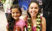 The star-voice of Disney's animated film MOANA 16-year old Auli'i Cravalho arrived on Monday night's from Hawai'i to Pago Pago, on her way to Samoa the following day. She was greeted by young local fan, 6-year-old Maia Faaui, who was wearing her Moana t-shirt at the airport.  [Courtesy Photo]