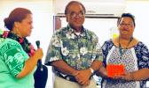 ducation Department director Dr. Ruth Matagi-Tofiga (far left), on behalf of the National Honor Society of Manua High School, presenting a $1,000 donation to hospital CEO, Faumuina John Faumuina (middle) and Dialysis nursing director Olita Tafiti