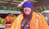 Samoan man in many layers of clothing because of the cold NZ winter.