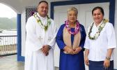 [l-r] Father Pio Afo, First Lady Cynthia Malala Moliga and Christina Fualaau