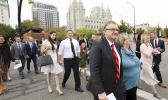 People arrive for the twice-annual conference of The Church of Jesus Christ of Latter-day Saints Saturday, Oct. 6, 2018, in Salt Lake City