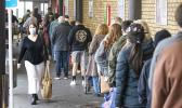 Shoppers lineup in Auckland at beginning of lockdown