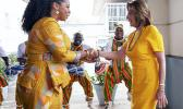 U.S. House Speaker Rep. Nancy Pelosi, D-Calif., shakes hands with the Hon. Sarah Adwoa Sarfo outside Ghana's Parliament
