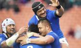 Samoa celebrates a try against Tonga.