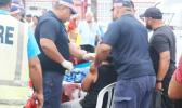 Samoa Police, Fire and Emergency Services treating people during voter registration in Samoa