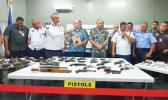 Turned in weapons on display