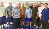 Traditional leaders of Fagatogo, Utulei and Fagaalu last Friday afternoon following a meeting to select its next senator. The leaders selected Fano Mitch Shimasaki (middle in brown).  [photo: AF]]