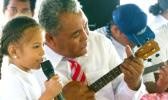 The youngest student, who attended the four weeks 2018 Arts Council summer program, singing and Playing the ukulele, is Paulo Petelo
