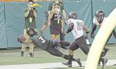 Hawaii Wide Receiver, Melquise Stovall makes an incredible leaping grab that led to a Hawaii touchdown