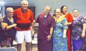 Swains Island Delegate, Su'a Alexander Eli Jennings (third from left) surrounded family members, including former Swains Island faipule Capt. Wallace Thompson (second from left)