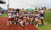 Team Talavalu after playing their last match of the Oceania Sevens Championships Day 1 Pool C.