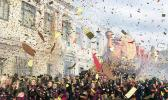 Start of the 2019 Macy's Thanksgiving Day parade with confetti flying around the turkey balloon.