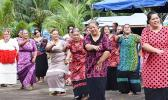 Mrs. Mae Reed-Mageo (far left) joins a special dance performance by her Tokelau family members