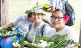 South Pacific students getting ready to enjoy an umu meal they helped prepare