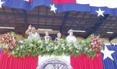 Rear Adm. Kevin Lunday, commander Coast Guard 14th District, joins acting Governor Lemanu Mauga and first lady Cynthia Moliga