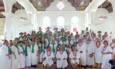 Vailoatai Choir, church and traditional leaders pose in the church