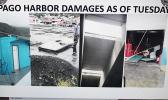 Screen shot from the Port Administration weather update presentation last week Wednesday at the Emergency Operations Center of damages caused to Pago Harbor