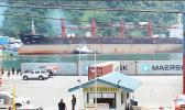 A view of the Port of Pago Pago as the North Korean cargo ship, Wise Honest, is slowly being towed to the main dock of Pago Pago Harbor